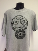 Shere Khan Sound T-Shirt w/ Tiger Holding Dubplate - Grey / Black Print (Various Sizes)